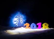 Nieuwjaren van de Achtergrond vooravondviering met nieuwe jaarelementen of symbolen Decoratie voor groetkaart Gelukkig Nieuwjaar  Stock Foto's