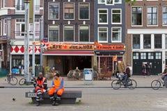Nieuwmarkt street with restaurants in Amsterdam Royalty Free Stock Photo