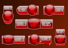 Nieuws en reeks van het onderzoeks de vector rode glanzende pictogram Royalty-vrije Stock Fotografie
