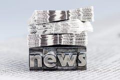 Nieuws in loodbrieven Stock Afbeelding