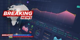 Nieuws vectorachtergrond, brekend nieuws stock illustratie