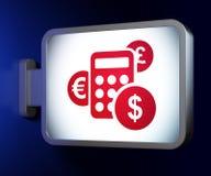 Nieuwsconcept: Calculator op aanplakbordachtergrond Royalty-vrije Stock Afbeelding