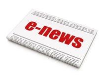 Nieuwsconcept: het e-Nieuws van de krantenkrantekop Stock Afbeelding