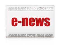 Nieuwsconcept: het e-Nieuws van de krantenkrantekop Royalty-vrije Stock Foto's