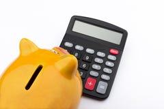 Nieuwsgierig spaarvarken (Spaarvarken en calculator) Royalty-vrije Stock Fotografie