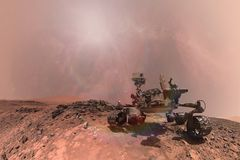 Nieuwsgierigheid Mars die Rover de oppervlakte van rode planeet onderzoeken Stock Afbeeldingen