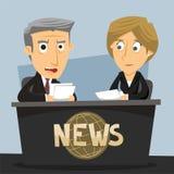 Nieuwsjournalist Anchorwoman en Anchorman Royalty-vrije Stock Afbeeldingen