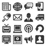 Nieuwsmedia Pictogrammen op Witte Achtergrond worden geplaatst die Vector Royalty-vrije Stock Afbeeldingen