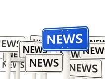 Nieuwsverkeersteken tegengesteld aan valse tekens Stock Afbeeldingen
