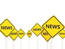 Nieuwsverkeersteken tegengesteld aan valse tekens Royalty-vrije Stock Afbeeldingen