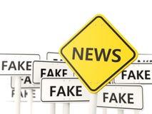 Nieuwsverkeersteken tegengesteld aan valse tekens Royalty-vrije Stock Afbeelding