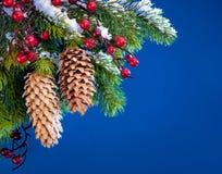 Nieve abrigada árbol de navidad del arte Fotos de archivo