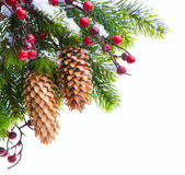 Nieve abrigada árbol de navidad del arte Foto de archivo