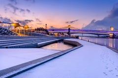 Nieve blanca del paisaje del invierno de la montaña en Corea Fotos de archivo libres de regalías