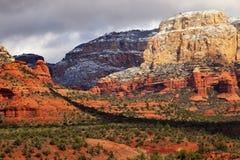 Nieve blanca roja Sedona Arizona de la barranca de la roca de Boynton Imágenes de archivo libres de regalías