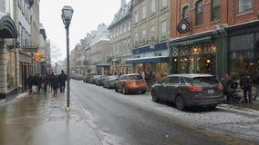 Nieve céntrica del invierno en Quebec, Canadá en 4K almacen de video