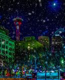 Nieve Calgary céntrica que cae, Alberta, Canadá Fotografía de archivo