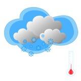 Nieve con el termómetro Imagen de archivo