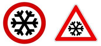 Nieve cuidadosa/muestra fría/del invierno Copo de nieve negro en círculo y triángulo rojos ilustración del vector
