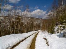 Nieve de deshielo en el camino de la montaña Fotos de archivo libres de regalías