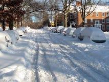 Nieve de diciembre en la 39.a calle Imagen de archivo libre de regalías