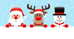 Nieve de la bandera de Santa Reindeer And Snowman Horizontal azul clara stock de ilustración