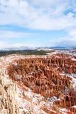 Nieve de la barranca de Bryce Fotos de archivo libres de regalías