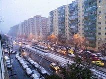 Nieve de la calle en Bucarest Fotografía de archivo libre de regalías