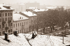Nieve de la ciudad imagen de archivo libre de regalías