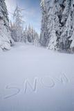NIEVE de la inscripción en la nieve Imagen de archivo libre de regalías