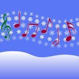 Nieve de la música del villancico de la Navidad Foto de archivo libre de regalías