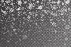 Nieve de la Navidad Copos de nieve que caen en fondo transparente stock de ilustración