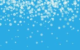 Nieve de la Navidad Copos de nieve que caen planos en fondo azul nevadas Ilustración del vector ilustración del vector