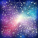 Nieve de la noche en fondo del espacio Foto de archivo libre de regalías