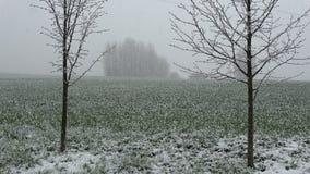 Nieve de la primavera que cae en las tierras de labrantío, cámara lenta almacen de metraje de vídeo