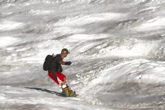 Nieve de la primavera que practica surf 3 foto de archivo libre de regalías