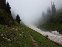 Nieve de las avalanchas en la garganta imagen de archivo libre de regalías