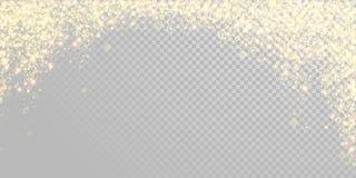 Nieve de oro del brillo del día de fiesta de la Navidad o confeti chispeante del oro en la plantilla blanca del fondo Brillo de o ilustración del vector