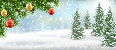 Nieve del árbol de pino del landscspe del invierno de la Navidad fotografía de archivo libre de regalías