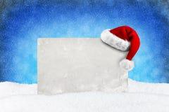Nieve del azul de la tarjeta de Navidad Imagenes de archivo