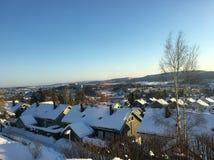 Nieve del invierno de Noruega del rasta de Lorenskog agradable imagen de archivo libre de regalías