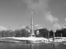 Nieve del invierno en el nyc del círculo de Columbus Imagenes de archivo