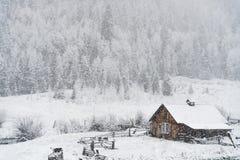 Nieve del invierno que cae en la cabaña de madera en bosque del Estado del san Isabel Imágenes de archivo libres de regalías