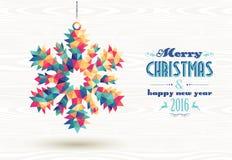 Nieve 2016 del triángulo de la Feliz Año Nuevo de la Feliz Navidad ilustración del vector