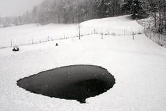 Nieve e hielo en el lago Imagen de archivo libre de regalías