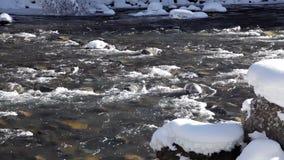 Nieve e hielo en un río de la montaña Imagen hermosa del invierno landscape metrajes