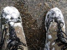Nieve en botas Fotos de archivo