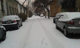 Nieve en Budapest Imágenes de archivo libres de regalías
