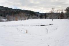 Nieve en campo de golf en el invierno, fondo del bosque, espacio de la copia Fotos de archivo libres de regalías