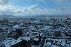 Nieve en ciudad fotografía de archivo